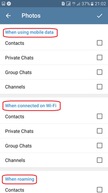 انتخاب نوع فایل در تنظیم دانلود خودکار فایل در تلگرام